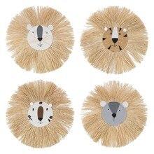 Lew w stylu kreskówki dekoracje wiszące ręcznie dzieci pokój ścienny akcesoria domowe nić bawełniana tkactwo głowa zwierzęcia Ornament