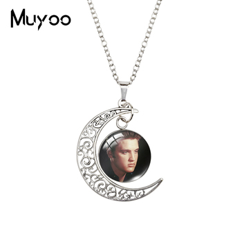 2020 New Elvis Presley Moon Necklace Rock Star Pendant Glass Cabochon Necklaces 20mm Fashion Round Jewelry image