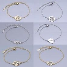 Bracelets à breloques en acier inoxydable, carte du monde, arbre de vie, bijoux ailes d'ange, cœur, palmier, Dropshipping, vente en gros