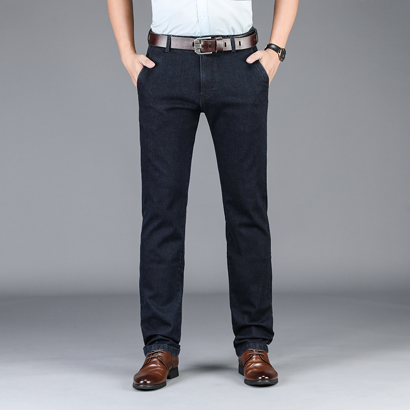 Odinoko 2020 Denim Business Classic Jeans Trousers  Men's Pants High Stretch Best Cotton Qualtiy Black Blue Jeans Denim