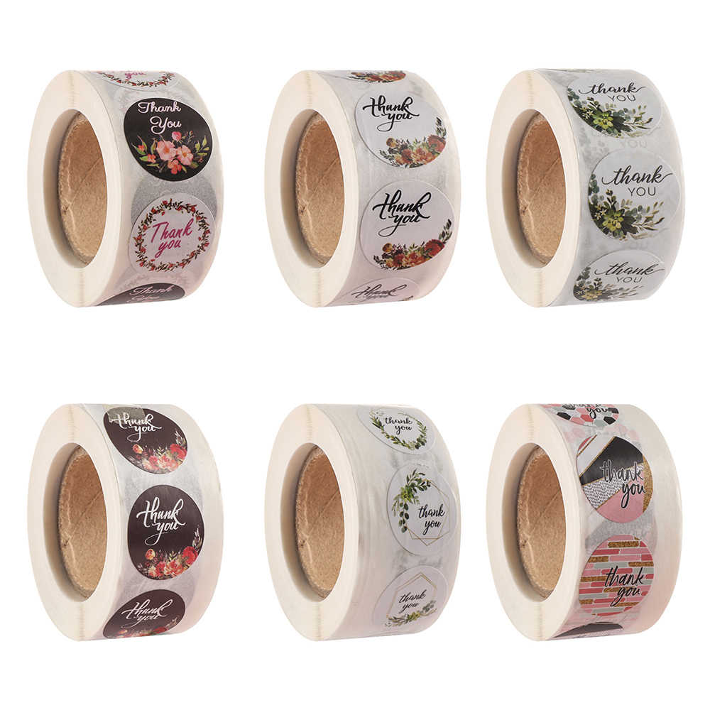 500Pcs/Roll Diy Hand Made Handgemaakte Met Liefde Label Bruiloft Stickers Sticker Kraft Ronde Etiketten Dank U sticker