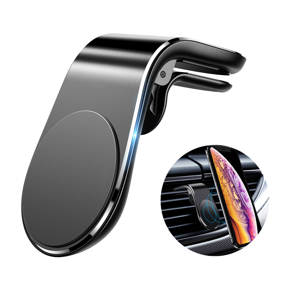 L Shape Clip Car Phone Holder For Phone In Car Mobile Support Magnetic Phone Mount Stand