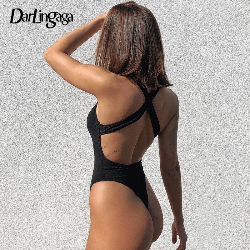 Darlingaga Backless Cross Tank Ribbed Bodysuit Women Knitted Solid Basic Body Fashion Sleeveless Bodysuits Tops Summer Jumpsuit
