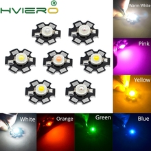 10X 1W 3W High Power Chip white Red Blue Green light Bead Emitter LED Bulb Diodes Lamp Beads with 20mm Star PCB Platine Heatsink