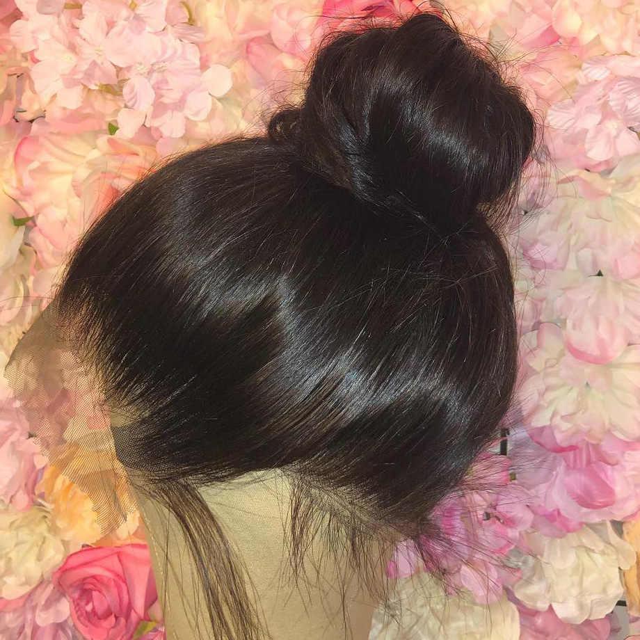 Volle spitze ftontal menschliches haar perücken für schwarze frauen Gerade remy kurze lange perücke pre gezupft mit baby haar glueless 30 zoll