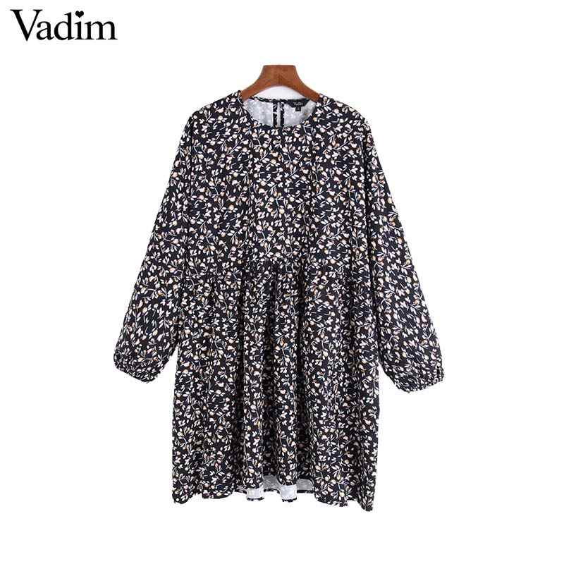 Vadim נשים רטרו פרחוני דפוס מיני שמלת ישר סגנון ארוך שרוול קפלים נשי מזדמן ללבוש אופנה שמלות vestido QC974