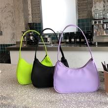 Fashion Candy Color Ladies Armpit Bag Retro Nylon Female Hobos Handbag Vintage Design Women Baguette Shoulder Bag Clutch Purse