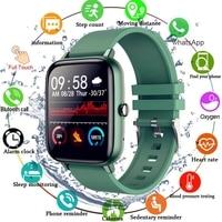 Reloj inteligente deportivo para hombre y mujer, pulsera completamente táctil con monitor, seguidor Fitness de presión arterial, para Android IOS, 2021