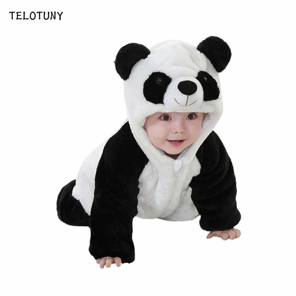 TELOTUNY New Infant Clothing 2019 Autumn Winter Baby Romper For Baby Cartoon Panda Hooded Jumpsuit Newborn Boy Girls Clothes 828