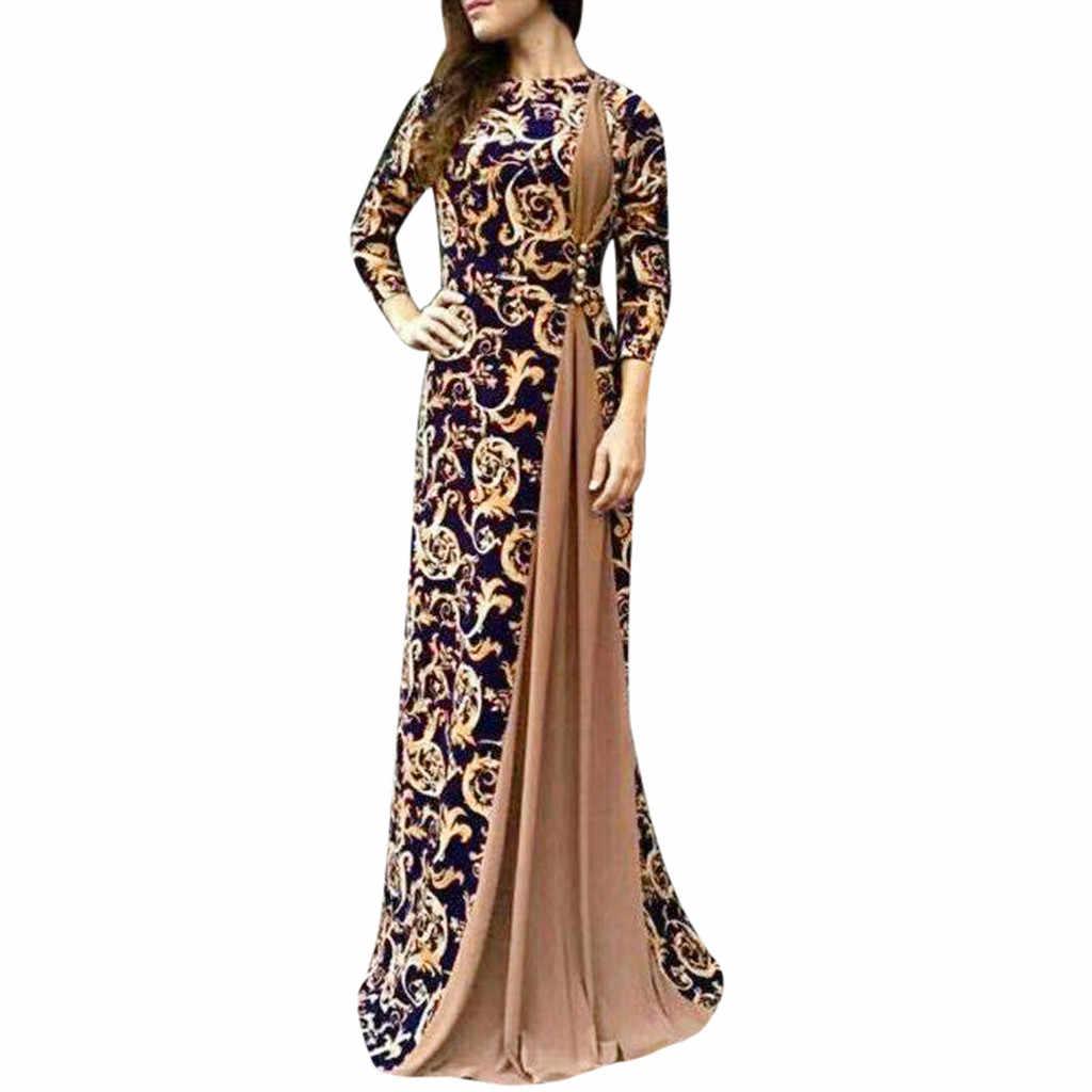 2019 Для женщин Винтаж платье Дубай Арабский Цветочный принт длинное платье мусульманское платье исламское Длинные Maxi Dress Vestidos Прямая поставка #91140