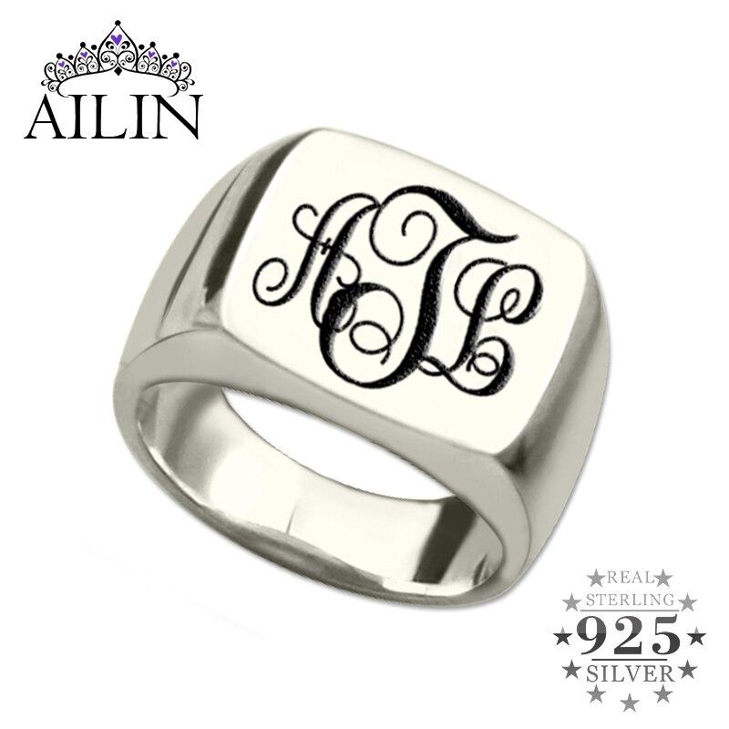 AILIN argent monogramme anneau carré initiales personnalisées anneau gravé monogramme nom anneau Unique vigne monogramme Style meilleur cadeau