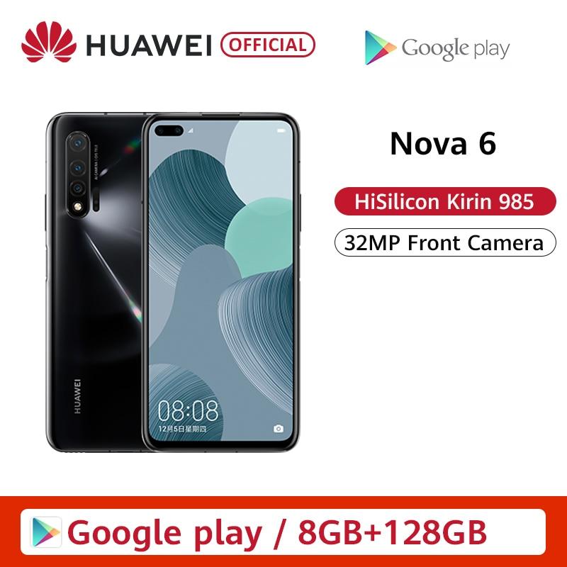 Original Huawei Nova 6 Smartphone 40MP AI Cameras Cellphone 32MP Front Camera 6.57'' Full Screen Kirin 990 Android 10 4G Version