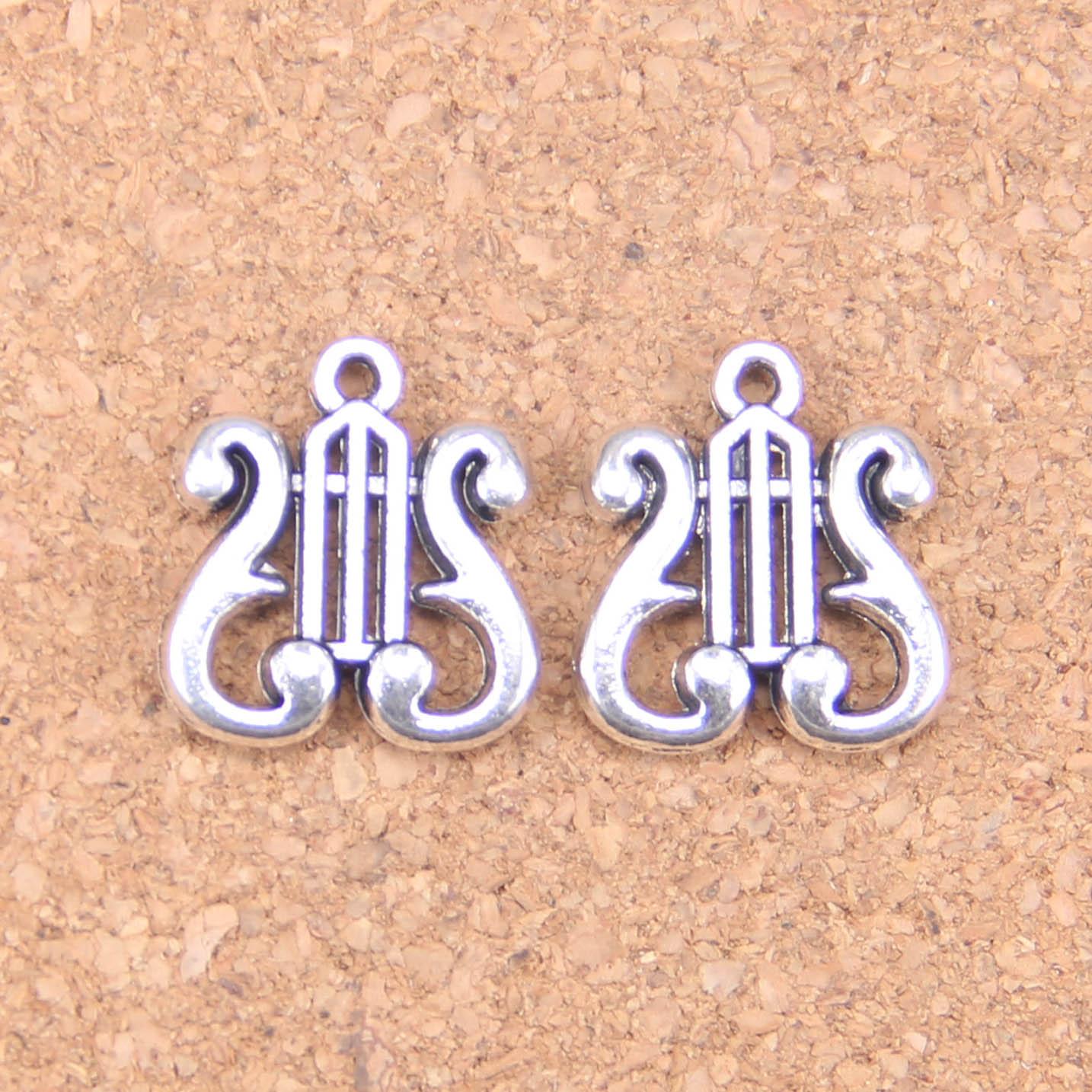 62 pièces breloques harpe 17x16mm pendentifs antiques, bijoux en argent tibétain Vintage, bricolage pour bracelet collier
