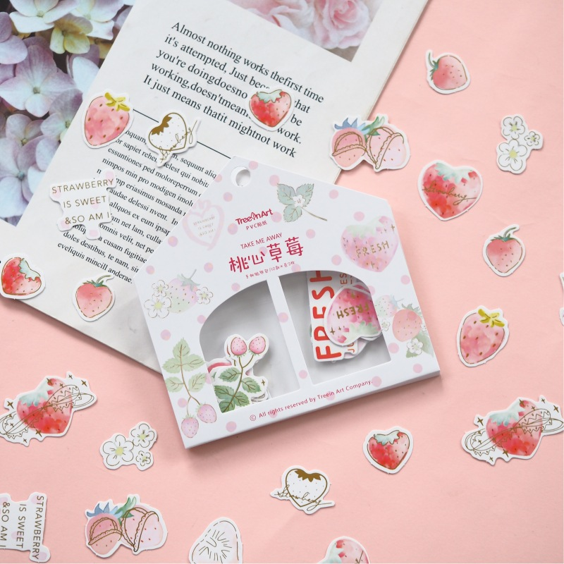 Peach-Heart Strawberry Bullet Journal Decorative Stickers Scrapbooking Stick Label Diary Stationery Album Stickers