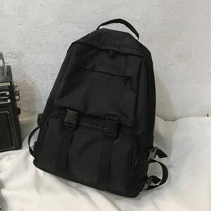 Image 1 - HOCODO Backpack For Women Solid Color School Bag For Teenage Girls Shoulder Travel Bag Multi Pocket Nylon Back pack Mochila 2019