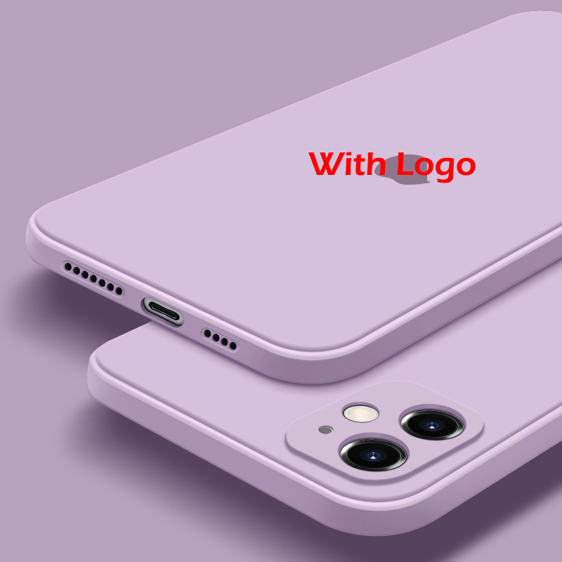 With LOGO Official Silicone Case For iphone 11 12 Pro 7 8 Plus X XS MAX XR SE phone Case on Apple iphone 7 8 plus X 10 Cover