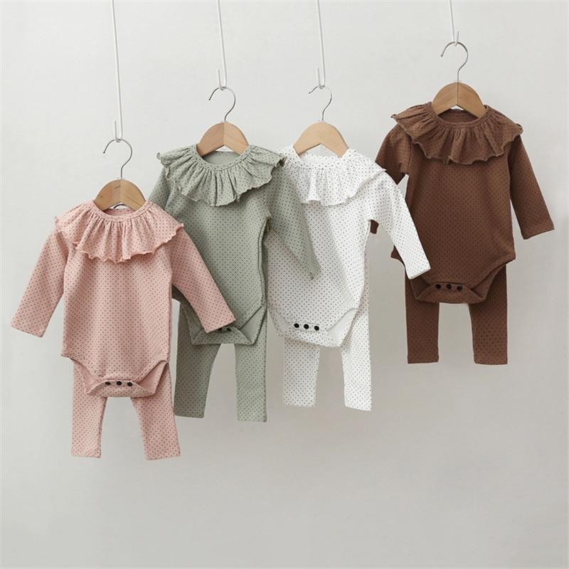 Комплекты одежды из 3 предметов для новорожденных девочек весенние пижамы для девочек боди с длинными рукавами + штаны + нагрудники в гороше...
