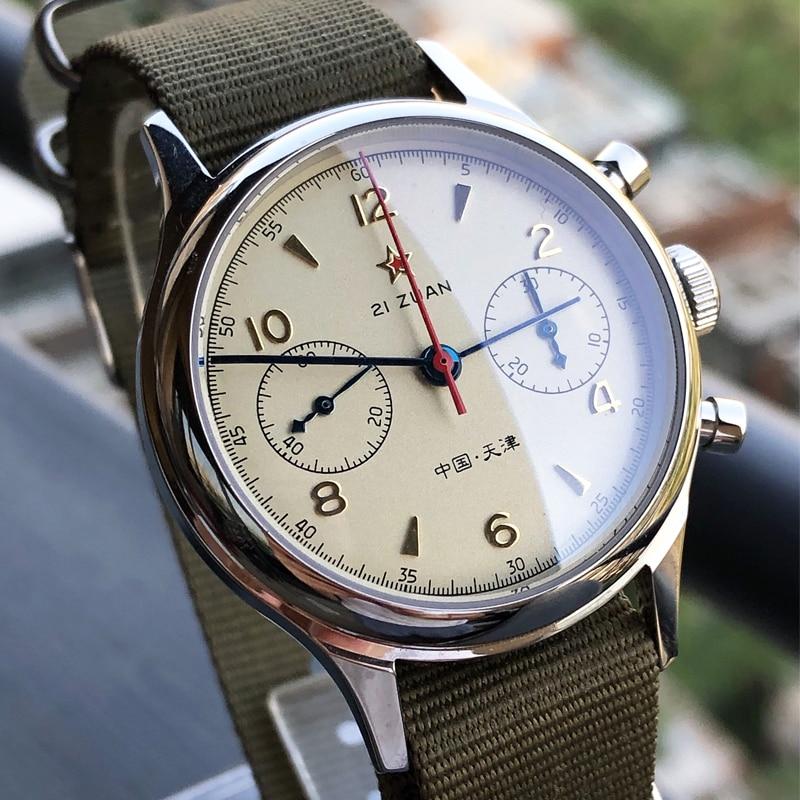 Retro Watch Men ST1963 Movement Mechanical Watch Fashion Chronograph NYLON Waterproof Sapphire Acrylic Clock Men Relogio Male