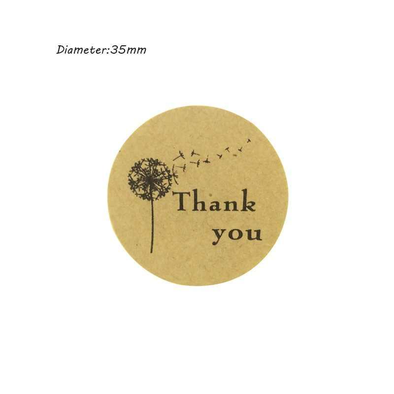 100 Pcs/lot Dandelion Thank you Sticker Kraft Label Sticker DIY For Gift Cake Baking Sealing Scrapbooking Labels