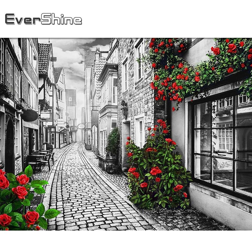 Evershine Алмазная вышивка улица картина стразы 5D DIY Алмазная мозаика Черное и белое пейзаж вышивка крестом наборы подарок ручной работы