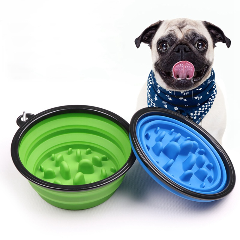 Portable Puppy Dog Bowl Pet Collapsible Slow Feeding Bowl With Hook Folding Travel Pet Water Feeders Supplies