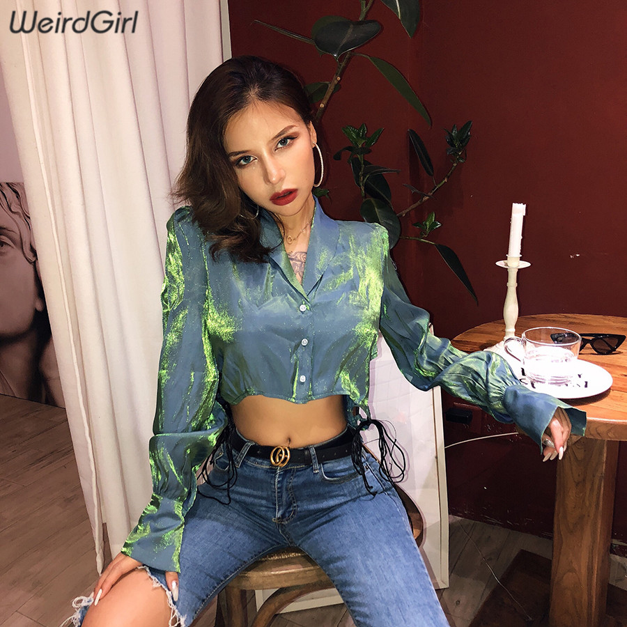 Weirdgirl Fashion Chic Bling Blouses Woman 2019 Party Shirts Cardigan Button Full Sleeve Turn-down Collar Autumn Tops Cool 2019