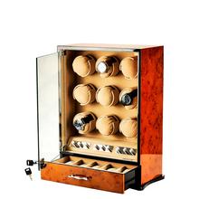 9 sloty wysokiej jakości mody mężczyzna pokrętło zegarka pole domu drewniane automatyczne zegarek Rotator pudełko wystawowe 0910-03 tanie tanio CN (pochodzenie) 0inch wooden Nowy bez tagów