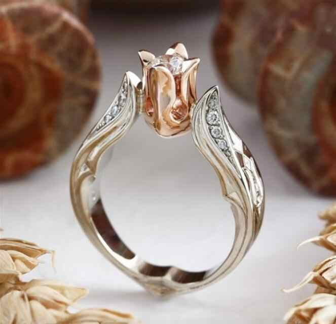 FASHION 1PC Exquisite Rose Gold Rose Floral Ring Silver Flower Wedding Jewelry Size 6-10