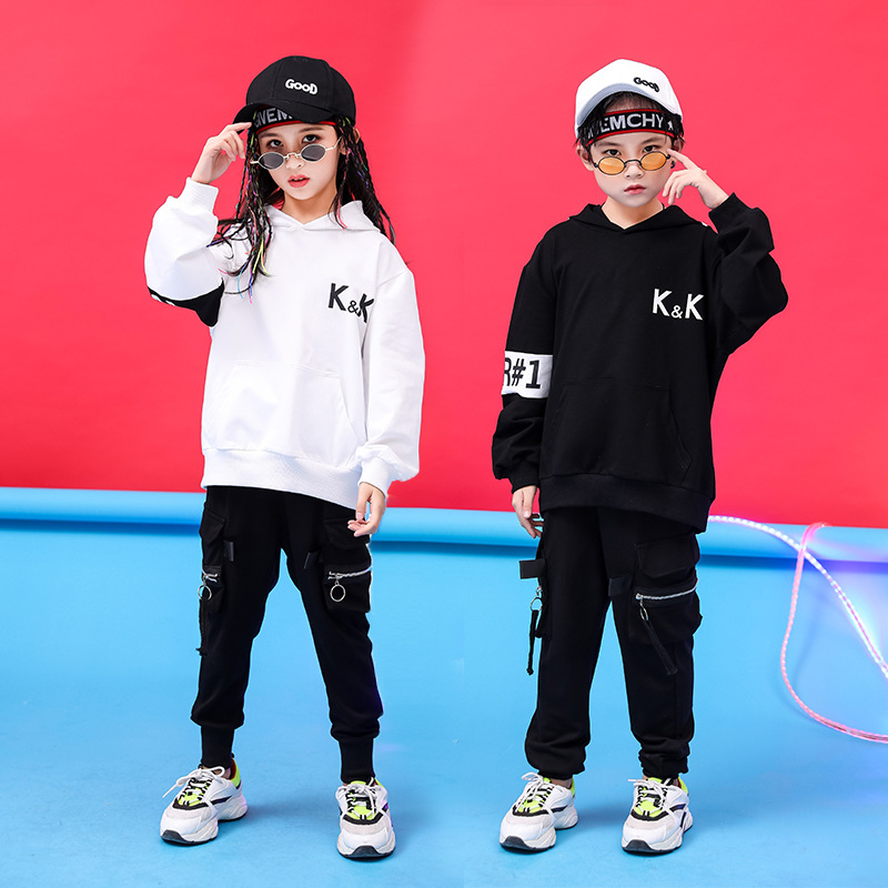 Kid Fashion Hip Hop Clothing Hoodies Sweatshirt Shirt Top Pullover Running Casual Pants For Girl Boy Jazz Dance Costumes Clothes