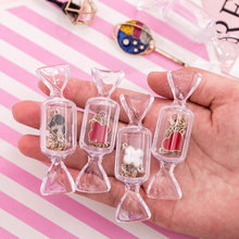 Cute Teen Girls Candy Shape Earrings Jewelry Bag Transparent MakeUp Storage Box Mini Portable Travel Cosmetic Case Organizer(China)