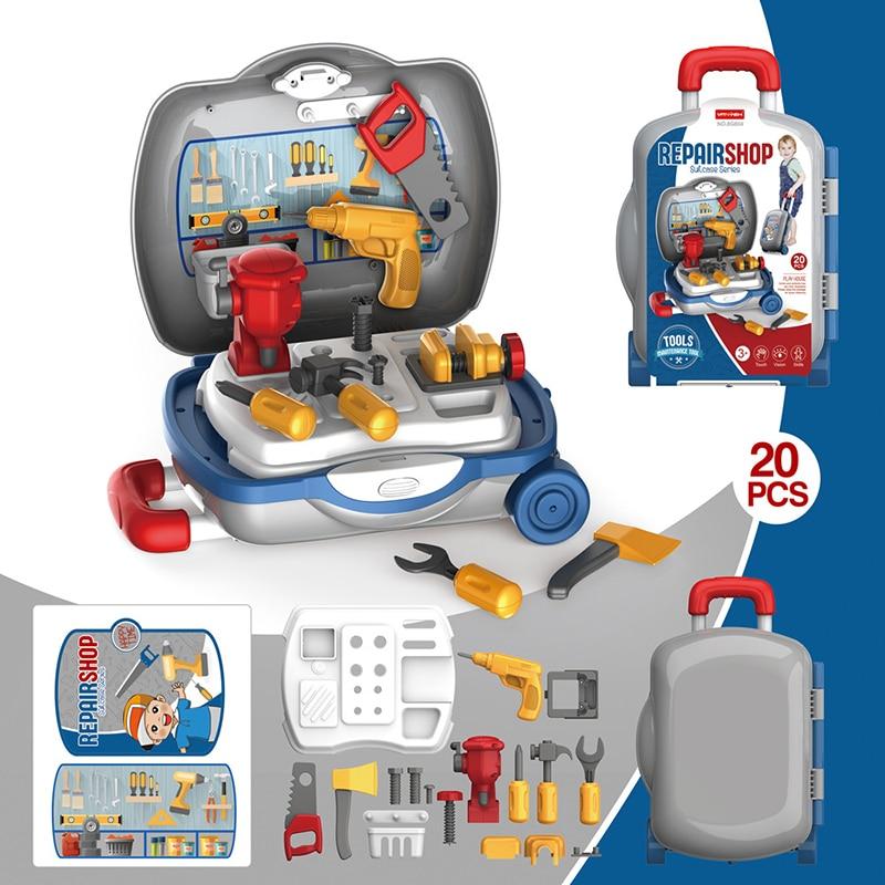Забавный чехол на колесиках для детей, игрушки для мальчиков и девочек, инструменты для ремонта, электрическая дрель, отвертка, инструмент для ремонта игрушек, чехол на колесиках для дома|Игрушечные инструменты|   | АлиЭкспресс