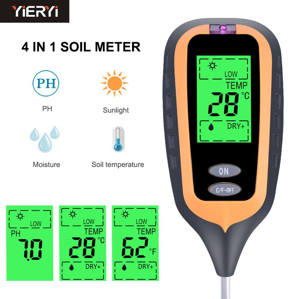 2019 New 4in1 Plant Earth Soil PH Moisture Light Soil Meter Thermometer Temperature Tester Sunlight Tester For Garden