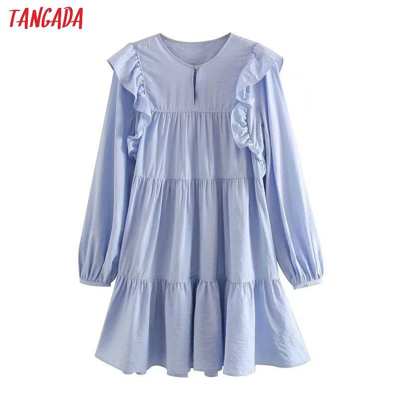 Tangada Fashion Women Blue Dress Beading Button 2020 New Arrival Long Sleeve Ladies Loose Short Dress Vestidos 5Z55