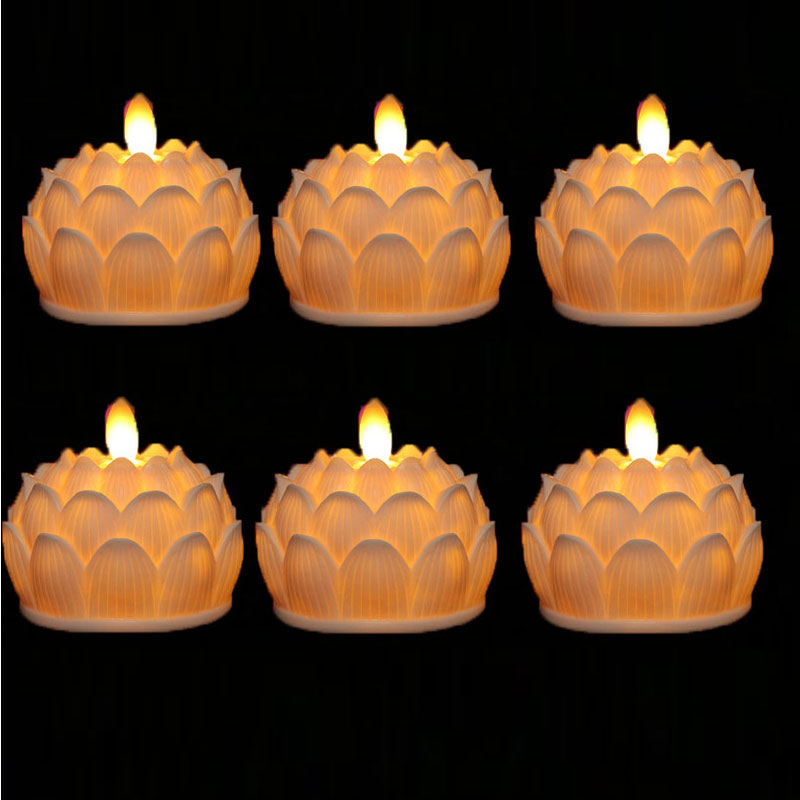 Pack of 6 LED Lotus Candles,Battery Operated Flameless LED Church Candle Light For Wedding Religious Decoration