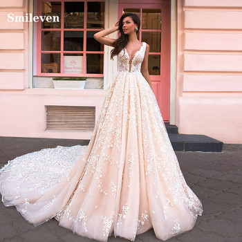 Smileven Lace Wedding Dress A Line Princess Bride Dresses Backless Puff Tulle Wedding Gowns Vestido De noiva a line tulle wedding dress 2019 princess wedding gowns v neck sleeveless backless bride bridal dresses vestido de noiva
