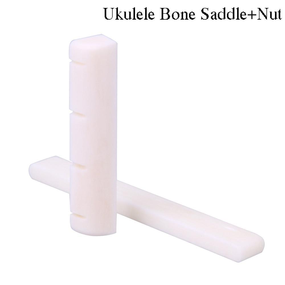 Ukulele Bone Saddle Nut Universal Classical Guitar Parts Bridge Saddle & Nut Slotted Set