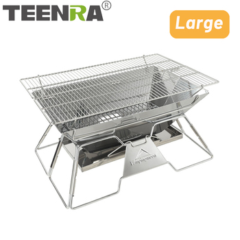 TEENRA Large Stainless Steel BBQ Grill Foldable Barbecue Grill Portable Outdoor Camping Cooking Tools