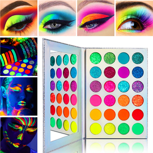 24 Colors Matte Sequins Glow Eye Shadow Pigment Fluorescent Eye Shadow Shimmer Glitter Colorful Palette Makeup Cosmetics TSLM1