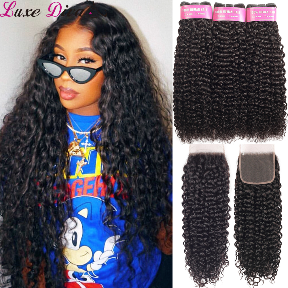 Brazilian Water Wave Bundles With Closure Luxediva Wet And Wavy Human Hair 3 Bundles With Lace Closure Remy Curly Hair Weaves