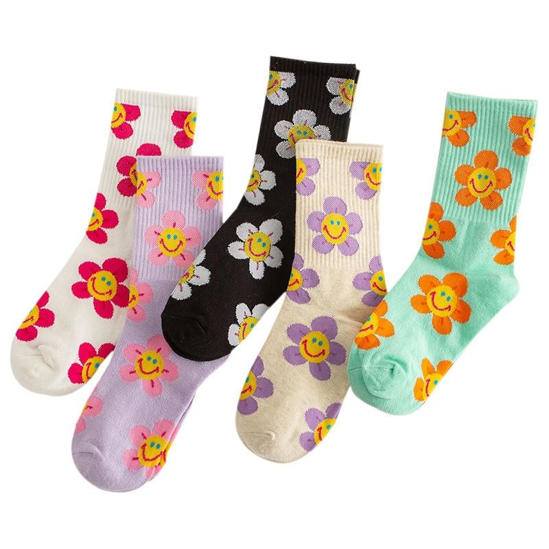 Носки женские с цветочным рисунком, милые Смешные белые хлопковые носки в стиле Харадзюку для женщин