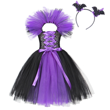 AmzBarley Toddler Girls Halloween costume Kids Evil Queen Lace tutu Dress Witch cosplay Party Outfits Children Clothes 3-10Years