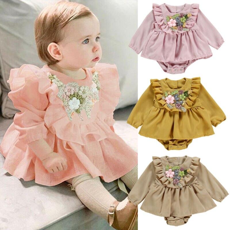 Princess Autumn Kids Baby Girl Clothes 3D Flower Ruffles Bodysuits Dress Cute Long Sleeve O-Neck Jumpsuit Cotton Clothing 0-24M