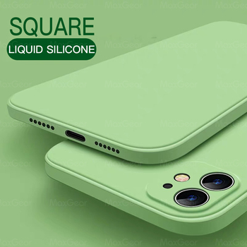 Nowy luksusowy oryginalny kwadratowy płynny silikonowy miękki futerał dla iPhone 11 Pro X XR XS Max 7 8 6 6s Plus SE 2 2020 12 kolor telefon okładka tanie i dobre opinie MaxGear CN (pochodzenie) Liquid Silicone Food Standard Apple iphone ów IPHONE 4S Iphone 5 Iphone 6 Iphone 6 plus IPHONE 6S