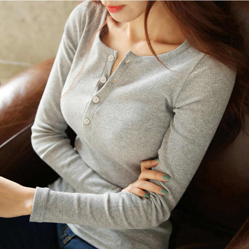ผู้หญิงฤดูใบไม้ร่วงผู้หญิงเสื้อยาวแขนยาวการเพาะปลูกด้วยตนเองภายในปุ่มผ้าฝ้ายเสื้อ Close แสดง Solicitude ทั้งหมดตรงกับเสื้อผ้า TEE