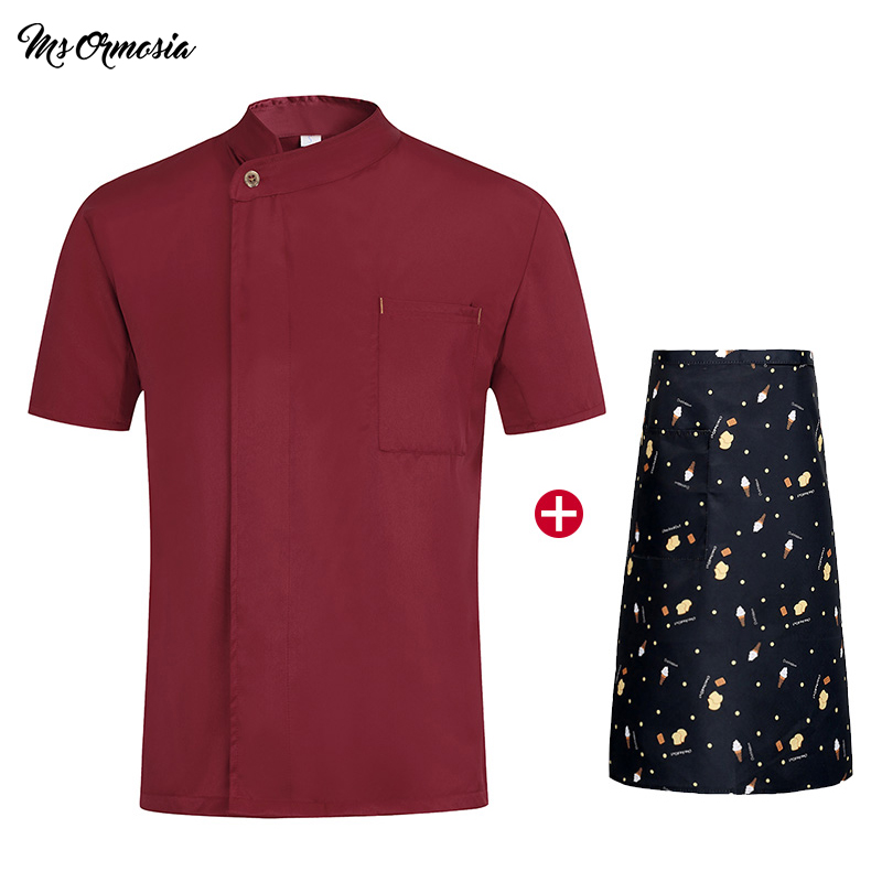 High Quality Unisex Chef Uniform Hotel Kitchen Work Clothes Short Sleeved Chef Restaurant Uniform Cooking Shirt Jacket+Hat+Apron
