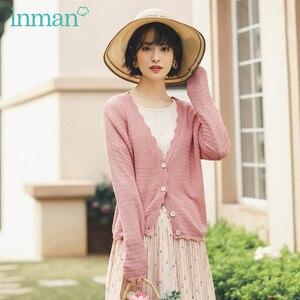 Image 1 - INMAN 2020 ฤดูใบไม้ผลิใหม่วรรณกรรม V คอขอบหยัก Gentle Elegant Leisure เสื้อสเวตเตอร์ถักเสื้อกันหนาว