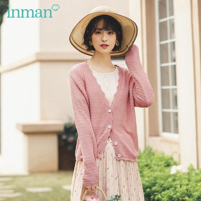 INMAN 2020 ฤดูใบไม้ผลิใหม่วรรณกรรม V คอขอบหยัก Gentle Elegant Leisure เสื้อสเวตเตอร์ถักเสื้อกันหนาว