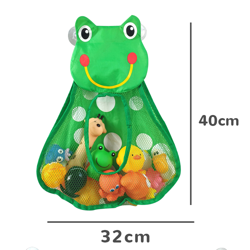 Baby Bath Toys Cute Duck Frog Mesh Net Toy Storage Bag Strong Suction Cups Bath Game Bag Bathroom Organizer Water Toys for Kids 4