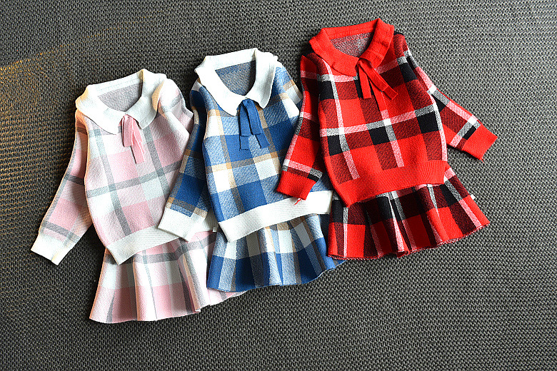 Baby Girls Winter Clothes Set Christmas Outfits Kids Girls Plaid Knit Sweater&skirt Fall Girl Clothing Set Children Costume 11