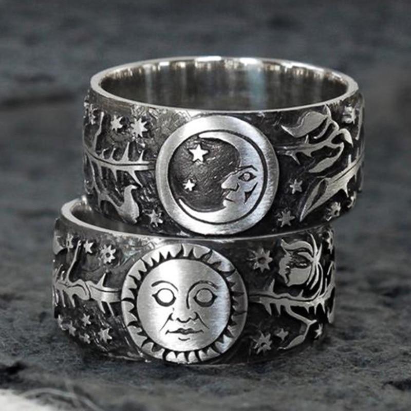 Huitan nouveau Vintage métallique Style bagues soleil et lune étoile feuilles motif Antique quotidien porter des femmes anneaux rétro bijoux